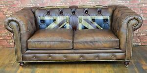 Chesterfield Union Jack Design 2 Seater Sofa In Vintage Brown Top