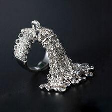 18k White Gold Haute Couture Fringe Tassel Ring made w Swarovski Crystal Stone