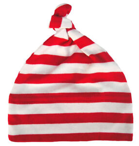 Baby-Striped-Hat-034-Red-amp-White-Stripes-034-Stripey-One-Knot-Soft-Cotton