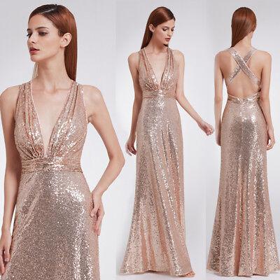 6c738da52d25 Ever-Pretty Womens Long Maxi Sequins Rose gold Formal Party Ball Dress 07109