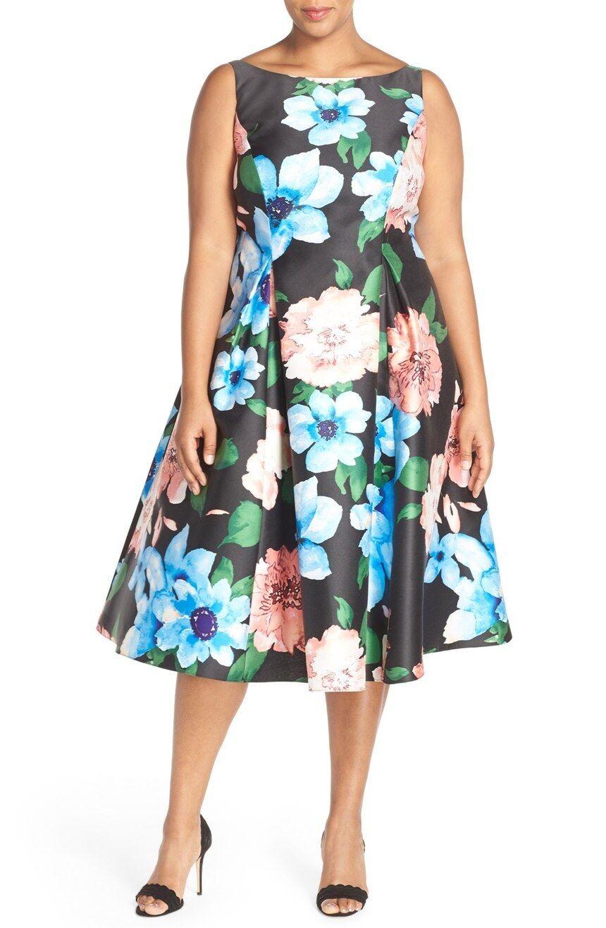 Adrianna Papell Floral Print Tea Length Dress  ( Size 14W)