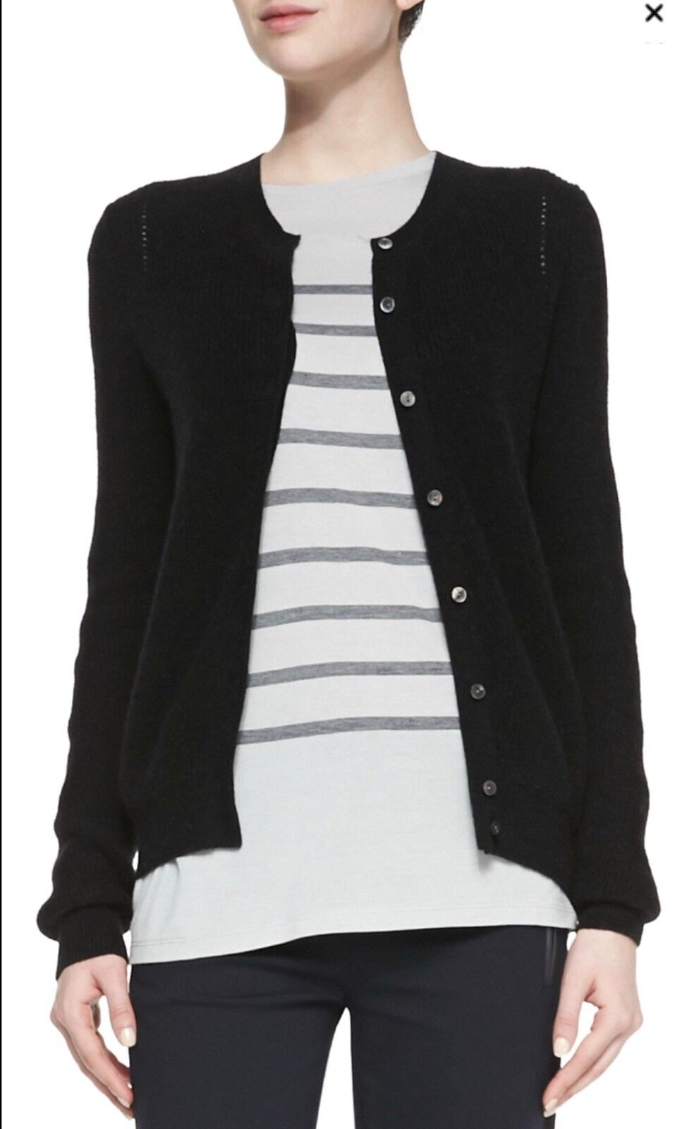 V594 NWT VINCE WOOL CASHMERE RIB BUTTON WOMEN CARDIGAN SIZE S in B  295