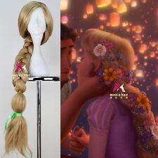 Princess Tangled Rapunzel 110cm Long Straight Braid Cosplay Wigs Anime Wig Blond