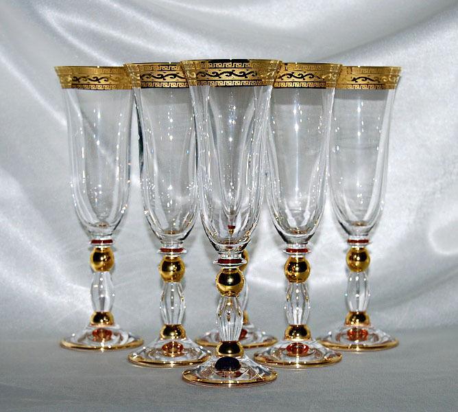 6 BOHEMIA CRISTAL à Champagne série  Gracia  avec monture en or neuf
