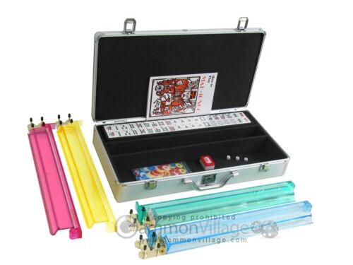 White Swan Mah Jongg Set Silver Mahjong White Tiles Aluminum Case Pushers