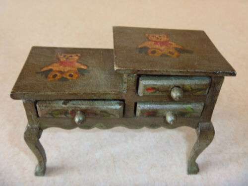 RUSS doll house furniture TELEPHONE TABLE wood Bears from the Past green