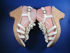 Nurture-8-5-M-White-Leather-Sandals-Brazil-Cork-Wedge-Flowers-Comfort