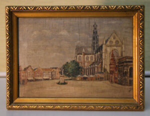 Small-Oil-Paintings-Groote-Market-Haarlem-Holland-1941-Signed