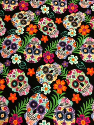 Colorful Halloween Sugar Skulls Skull /& Flowers on Black FLANNEL Fabric BTHY