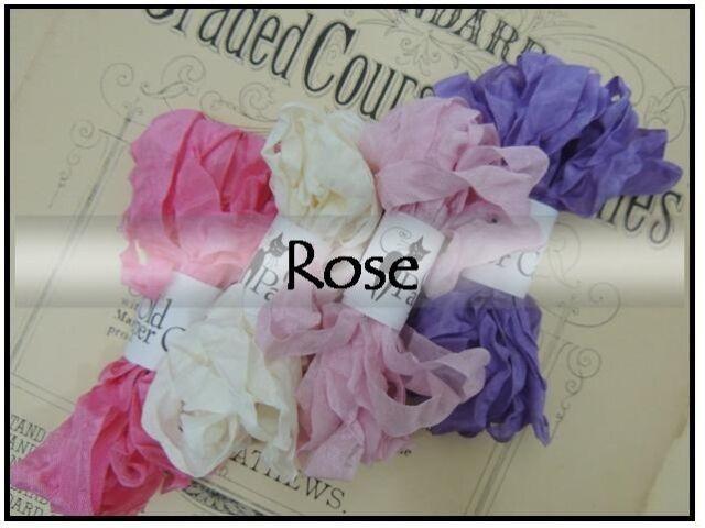 20 Yds || ROSE || CRINKLE SEAM BINDING RIBBON || Rose White Tulip Pink Lavender