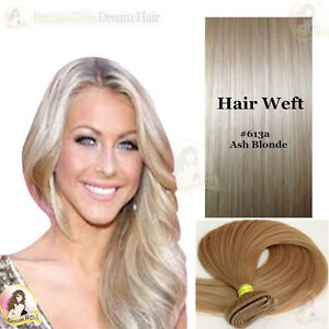 AAA-India-Remy100-Human-Hair-Extensions-Weft-613a-Light-ash-blonde-Double-Drawn