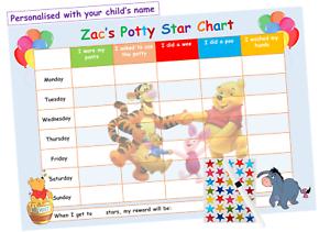 Potty Toilet Training Reward Chart Personalised Boys Girls Sticker Reusable WTP