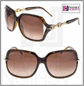 332f9f0d55c Image is loading GUCCI-CRYSTAL-CHAIN-3584-Rectangular -GG3584NS-Brown-Tortoise-