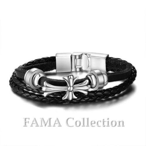 Quality FAMA Black Braided Leather Bracelet w// Centre Steel Celtic Cross