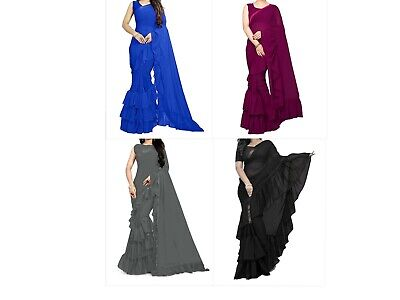 Saree Ruffle Sari Indian Designer Bollywood Party Blouse Wear Georgette Ethnic W