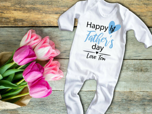 Custom Happy 1st Father/'s day white Baby grow rompersuit Sleepsuit Fathers gift
