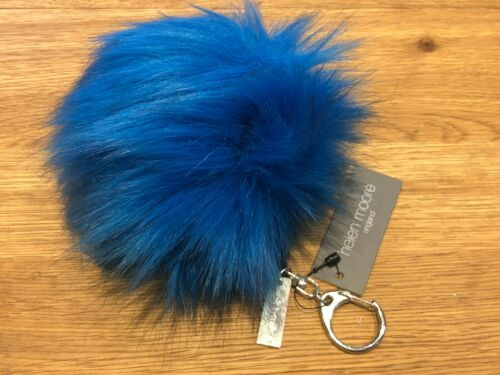 Helen Moore Ultra Soft Faux Fur Pom Pom Key Ring Bag Charm New Kingfisher RRP£29