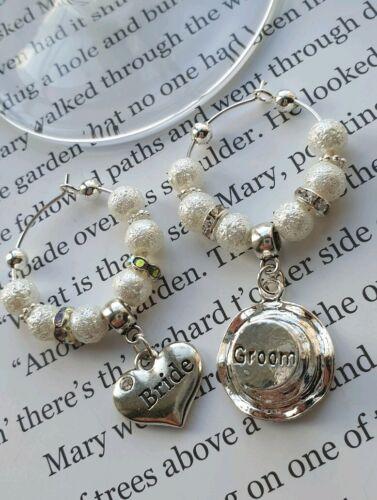 Mariée et marié TOP HAT mariage verre charms cœur perles et cristaux Sac Cadeau