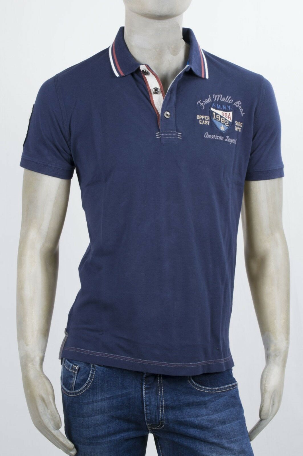 POLO FRED MELLO M-M IN COTONE PIQUE BLU CON PATCH E RICAMI COLLETTO STAMPATO