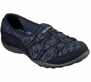 Skechers-Relaxed-Fit-Breathe-Easy-Golden-Shoes-Womens-Navy-Slip-On-Loafers-23033