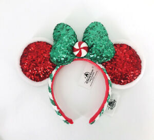2020-Candy-Cane-Christmas-Peppermint-Disney-Parks-Green-Bow-Ears-Headband