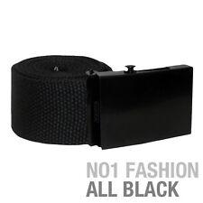 "New Men's Black Universal Canvas Webbing Belt Fits Sizes 28""-36"" Military Style"