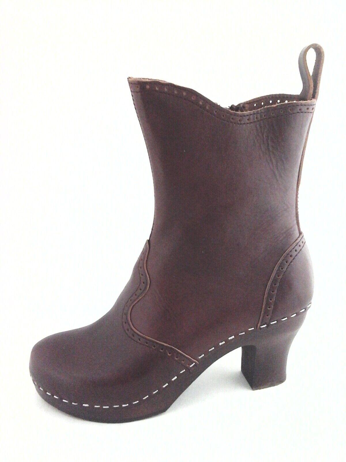 SWEDISH HASBEENS Clog Boots Cognac Brown Leather Wooden Heel Womens US 7 38  299
