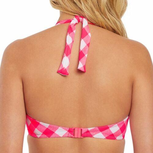 Freya Swimwear Totally Check Banded Halter Bikini Top Tropical Punch 2924