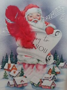 UNUSED-Vtg-SANTA-w-FEATHER-Pen-Watches-TOWN-Mid-Century-CHRISTMAS-GREETING-CARD