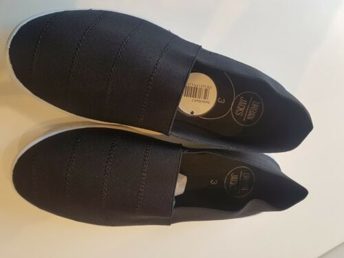 NEW ladies black CANVAS PUMPS comfort low wedge casual TRAINER  shoes size 4