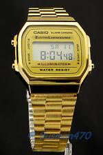 CASIO Men's Digital Retro 80s Vintage Gold A-168WG-9 Watch 100% Original & Gift