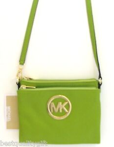 MICHAEL KORS FULTON LIME GREEN LEATHER GOLD TONE CROSSBODY HANDBAG ...