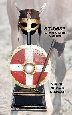 "10"" Viking Helmet Armor Shield Axe Tin Wood Stand Miniature Display Prop Gift"