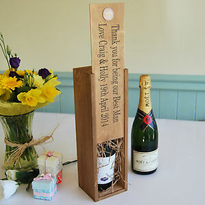 Wooden Personalised Wine Champagne Box Bottle Holder