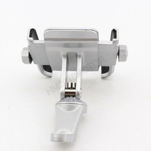 US Stock Silver Aluminum Mirror Mount Phone Holder For Cruiser Chopper Custom