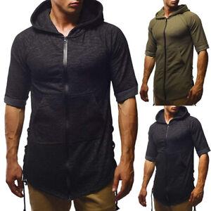Felpa-con-cappuccio-Uomo-Manica-Corta-Muscolo-Cerniera-Tasca-Sweater-T-Shirt-Athletic