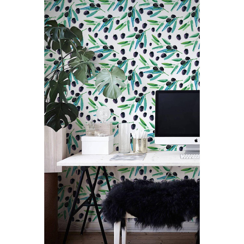 Olives Leaves Removable wallpaper Floral Illustration Light Pattern Wall Mural