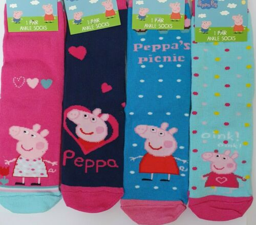 4 Paire Enfant Fille PEPPA PIG Chaussettes Âge 2 3 4 Chaussures Taille UK 6 8 EU Taille 22 36