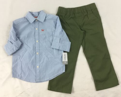Carter/'s Boy/'s 2-Piece Set Blue Pin Stripe Button Down Shirt Green Pants 12M