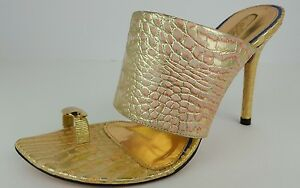 Gracienne-Women-039-s-Size-6-Gold-Pink-Leather-Embossed-Reptile-Print-Stilettos-NWOB