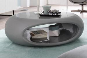 Couchtisch Wohnzimmertisch Grau Hochglanz Oval 100 Cm Vintage Style