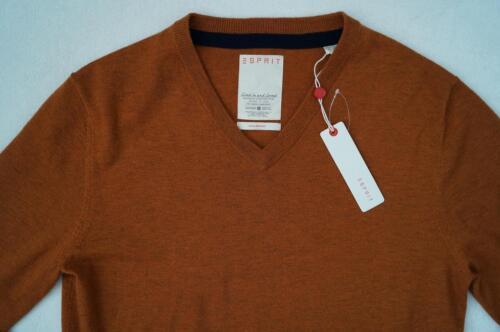 ESPRIT Pullover V-Ausschnitt Gr L XL  XXL terracotta  orange 100/%Wolle NEU
