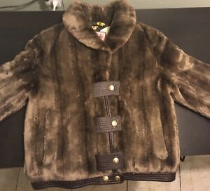 Women s Juicy Couture Designer Brown Button Up Faux Fur Winter ... 0ee19fa0b9