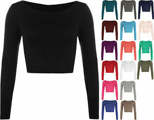 WOMENS-ROUND-NECK-LONG-SLEEVE-CROP-TOP-T-SHIRT-TOPS-LADIES-CROP-TOP-SIZE-8-14