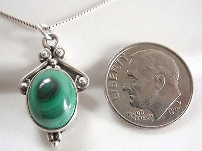 Malachite Accented Necklace 925 Sterling Silver Ethnic Tribal Style New #2ln