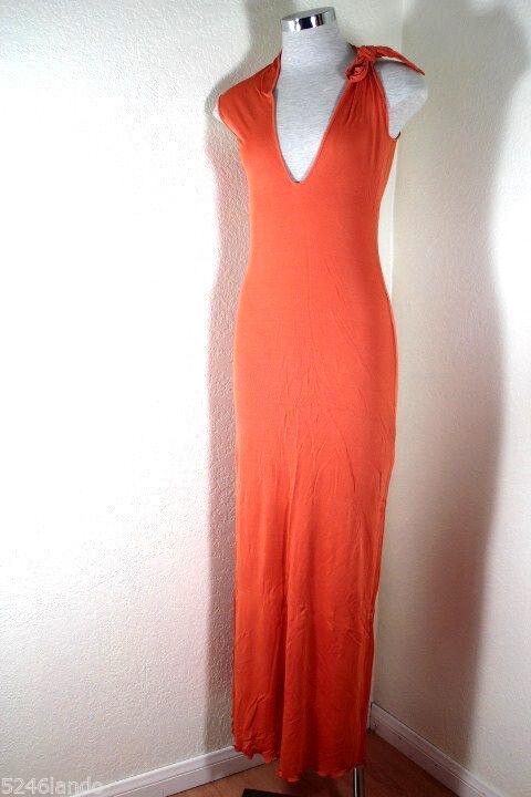 Vintage Jean Paul Gaultier orange Long Halter One Shoulder Dress Beach 6 7 8