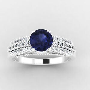 0.84 Ct Round Cut Diamond Engagement Blue Sapphire Ring 14K White Gold Size 4 5