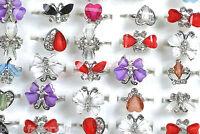 Wholesale Jewelry Mixed Lots 20pcs Women's Retro Crystal Adjust Rhinestone Rings