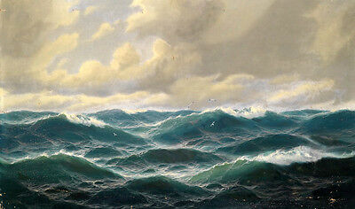 Handpainted Oil painting nice seascape green ocean waves with birds on canvas