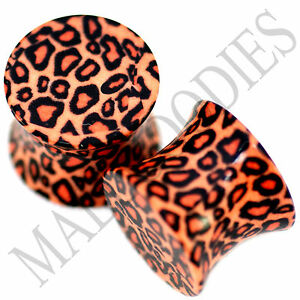0192-Double-Flare-Acrylic-Leopard-Cheetah-Print-Saddle-Ear-Plugs-00G-Gauge-10mm